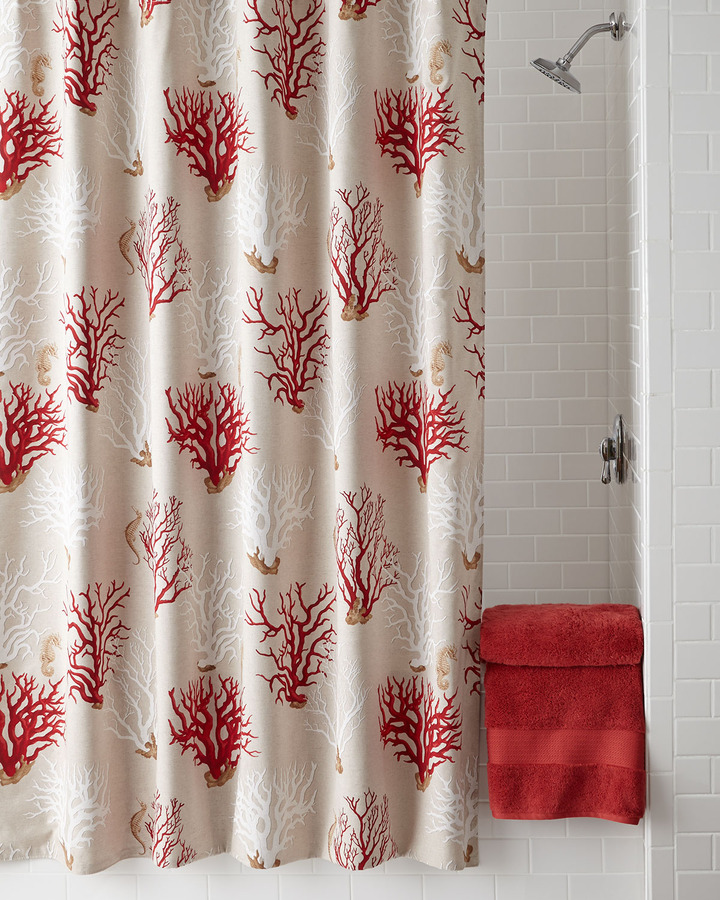 "Horchow French Laundry Home ""Red Coral"" Shower Curtain"