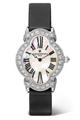 Vacheron Constantin Heures Créatives Heure Romantique 26.5mm 18-karat White Gold, Satin, Diamond And Mother-of-pearl Watch