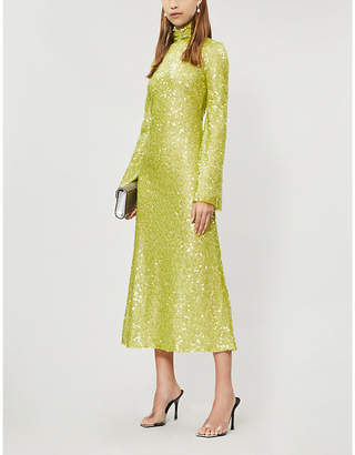 Galvan High-neck sequinned midi dress