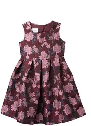 Iris & Ivy Sleeveless Floral Brocade Back Keyhole Dress (Big Girls)