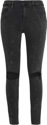 Frame Le Hugh Coated Mid-rise Skinny Jeans