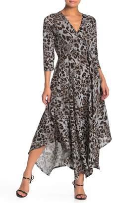 SUPERFOXX Leopard Print Asymmetrical Hem Midi Dress