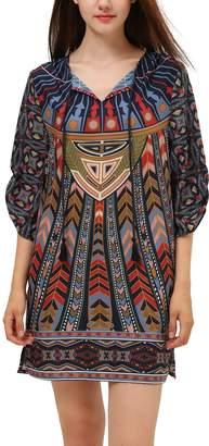 Urban CoCo Womens Retro Bohemian Print Shift Tunic Dress (S, )