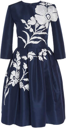Carolina Herrera Knee Length Embroidered Silk Dress