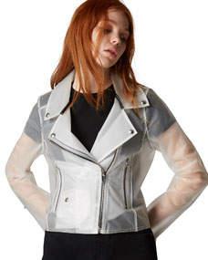 Plastic Zip-Up Moto Jacket