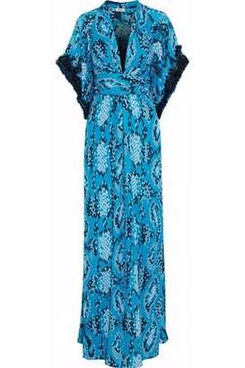 Issa Embellished Printed Silk Crepe De Chine Maxi Dress