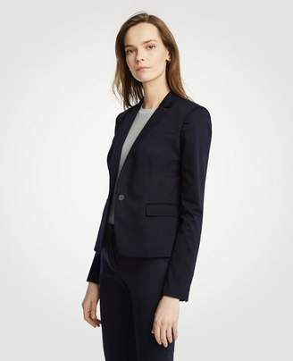 Ann Taylor Cotton Sateen One Button Perfect Blazer