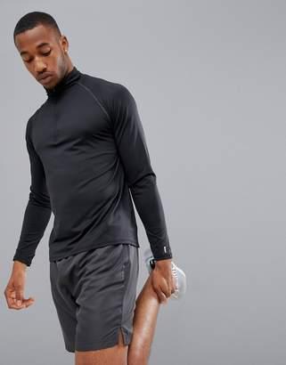 New Look SPORT half zip long sleeve top in black