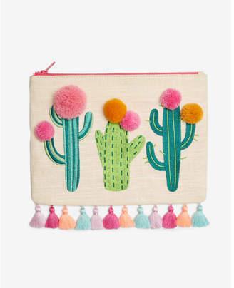 Express linen-blend cactus pom pouch