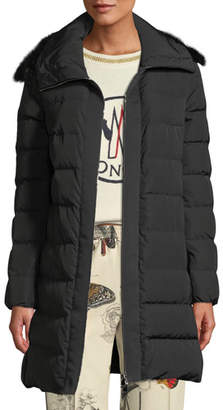 Moncler Lionette Long Puffer Coat w/ Fur Trim