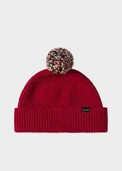 eb72a401f1374d Men's Red Pom-Pom Wool Beanie Hat
