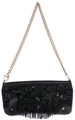 Dolce & Gabbana Embellished Snakeskin-Trimmed Satin Chain-Link Evening Bag