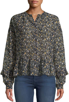 MiH Jeans Ingrid Floral Button-Front Silk Peplum Top