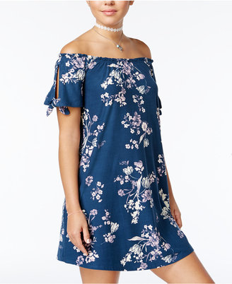 Planet Gold Juniors' Printed Off-The-Shoulder Dress $29 thestylecure.com