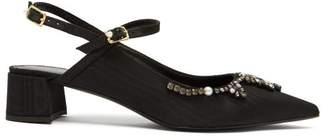 Erdem Aerin Crystal Embellished Faille Slingback Pumps - Womens - Black