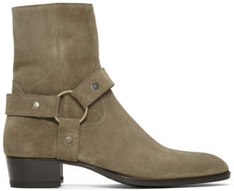 Saint Laurent Beige Suede Wyatt Harness Boots