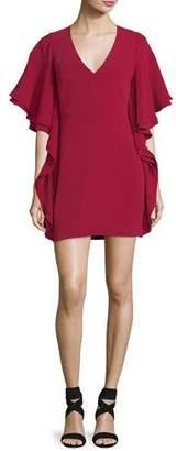 Halston V-Neck Draped-Sleeve Mini Cocktail Dress