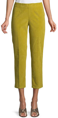 Piazza Sempione Audrey Side-Zip Straight-Leg Cropped Corduroy Pants