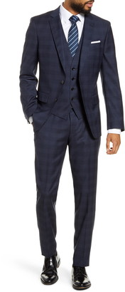 BOSS Huge/Genius/We Trim Fit Plaid Wool Three Piece Suit
