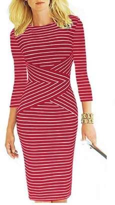 FieerWomen Stripes for Office Wear 3/4 Length Business Bodycon Dress XL