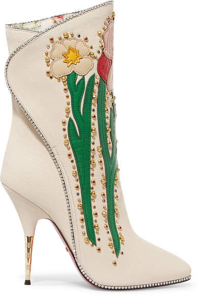 Gucci - Fosca Appliquéd Embellished Textured-leather Ankle Boots - White