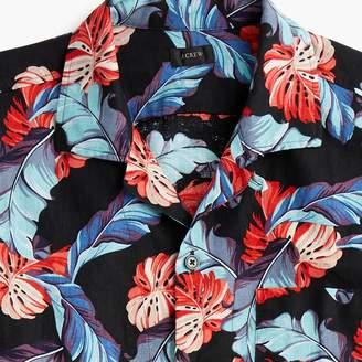J.Crew Short-sleeve camp-collar cotton-linen shirt in tropical print