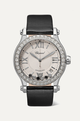 Chopard Happy Sport 36mm Stainless Steel, Satin And Diamond Watch - Black