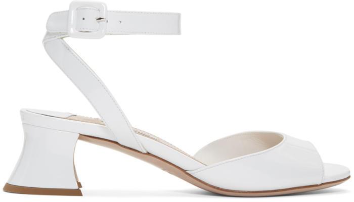 Miu Miu White Patent Leather Heeled Sandals