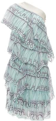 Zandra Rhodes Tiered Abstract Print Silk Chiffon Midi Dress - Womens - Blue Print