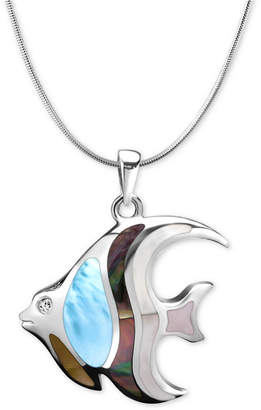 """Marahlago Multi-Stone Angelfish 21"""" Pendant Necklace in Sterling Silver"""