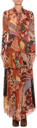 Etro Mixed-Print Long-Sleeve Long Silk Gown