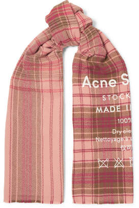 Acne Studios Cassiar Printed Checked Wool Scarf - Pink
