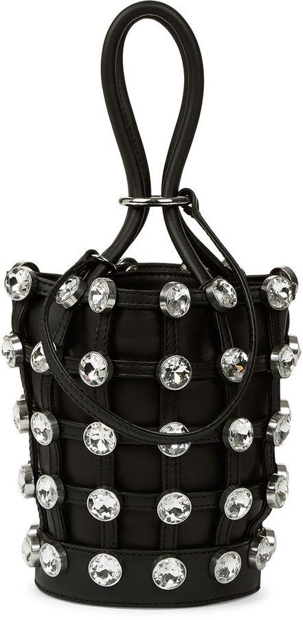 Alexander WangAlexander Wang Black Crystal Roxy Mini Bucket Bag