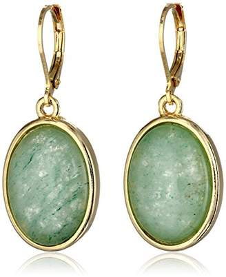 """1928 Jewelry Semi-Precious Collection"""" 14k Gold Dipped Blue Lace Agate Oval Drop Earrings"""
