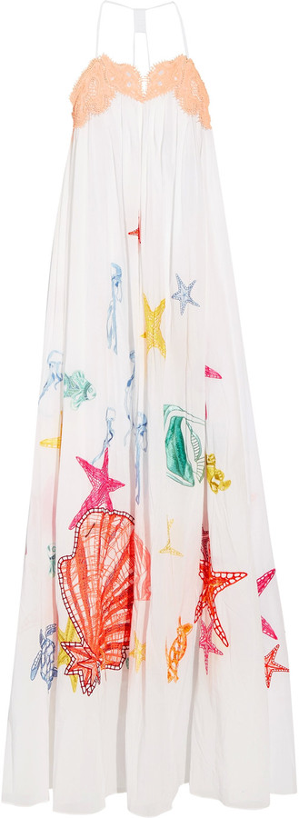 Emilio Pucci Emilio Pucci Lace-trimmed appliquéd cotton-mousseline maxi dress