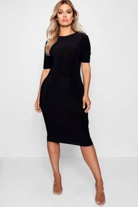 boohoo Plus Slinky Short Sleeve Midi Bodycon Dress