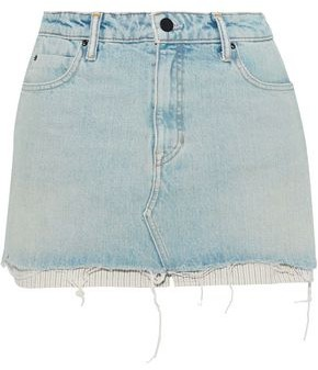 Alexander Wang Striped Jacquard-paneled Distressed Denim Mini Skirt