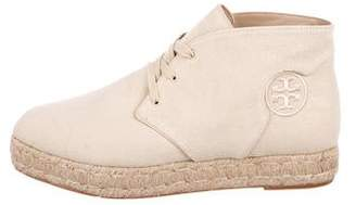 Tory Burch Canvas Round-Toe Espadrille Booties
