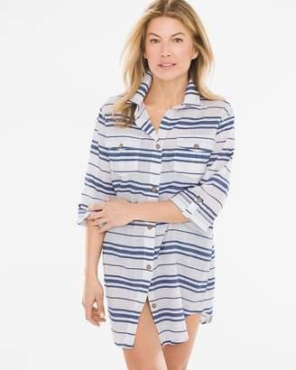 Dotti Havana Striped Swim Cover-Up Shirt Dress