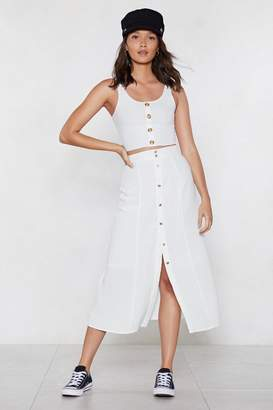 Nasty Gal Always Button in Midi Skirt