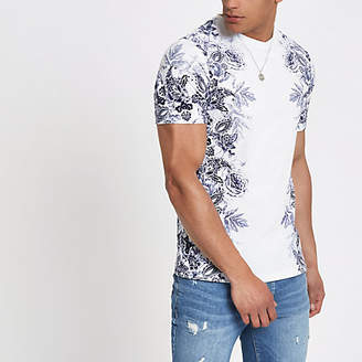 River Island White floral slim fit T-shirt