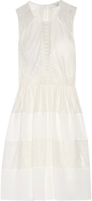 Sandro Rosaria pleated lace and crepe de chine mini dress $510 thestylecure.com