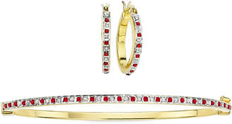 FINE JEWELRY 2-pc. Lead Glass-Filled Ruby & Diamond Accent Hoop Earring & Bangle Set