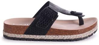 327ca5eed90 MONICA Linzi Black Snake Toe Post Flatform Sandal