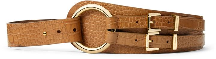 Michael Kors Crocodile-Embossed Double-Buckle Belt
