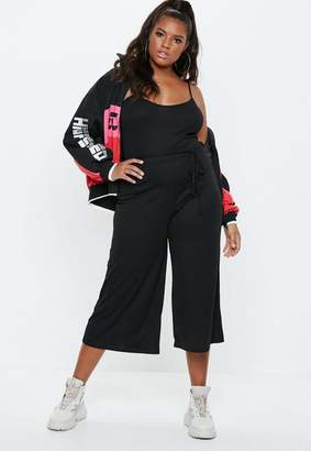 Missguided Plus Size Ribbed Culotte Romper Black