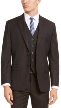Michael Kors Men's Classic-Fit Airsoft Stretch Brown/Blue Birdseye Windowpane Suit Jacket