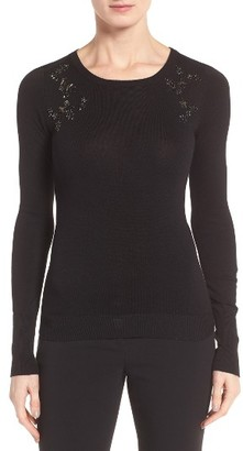 Women's Ivanka Trump Embellished Crewneck Sweater $89 thestylecure.com