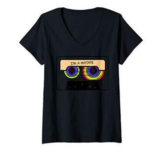 Womens I Am A Mixtape LGBT Retro Vinyl Record Player Bisexual Gift V-Neck T-Shirt