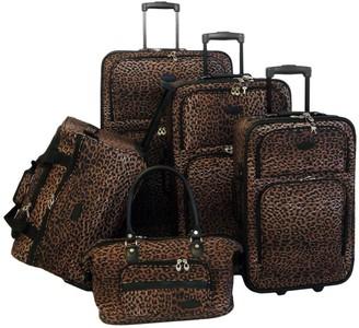 American Flyer 5-Piece Brown Leopard Luggage Set